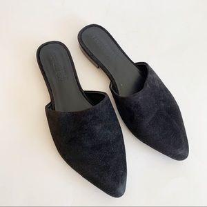 Little Burgundy Black Slides Mules Pointy Toe 6.5